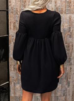 Pizzo Solido Abiti dritti Maniche lunghe Mini Piccolo nero Elegante Tunica Vestiti di moda
