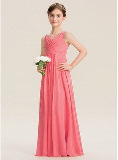 Empire V-neck Floor-Length Chiffon Junior Bridesmaid Dress With Ruffle Beading Sequins