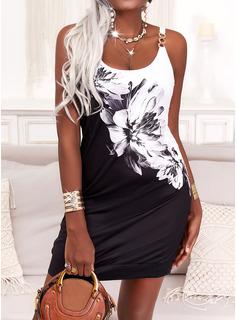 Trozos de color Floral Impresión Vestidos sueltos Sin mangas Mini Casual Tipo Vestidos de moda