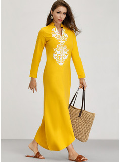 Print Shift Long Sleeves Maxi Boho Casual Vacation Dresses