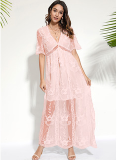 Spitze Einfarbig A-Linien-Kleid Kurze Ärmel Maxi Elegant Skater Modekleider