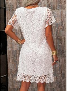 Spitze Einfarbig Rundhalsausschnitt Kurze Ärmel Mini Modekleider