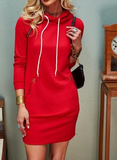 Solid Bodycon Lange ærmer Mini Den lille sorte Casual Sweatshirts Mode kjoler