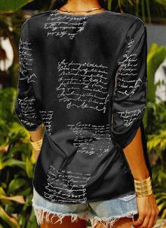 Stampa Scollatura a V 1/2 maniche Casuale Camicie