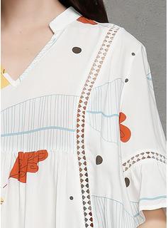Hasta la rodilla Escote en V poliéster Impresión/Hueco Mangas 3/4/mangas llamarada Vestidos de moda