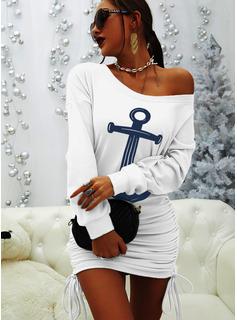 Stampa Aderente Maniche lunghe Mini Casuale Felpe Vestiti di moda