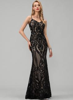 Trumpet/Mermaid V-neck Floor-Length Sequined Prom Dresses