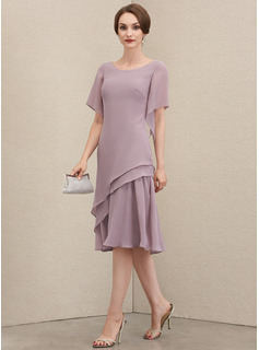 A-Line Scoop Neck Knee-Length Chiffon Cocktail Dress With Cascading Ruffles