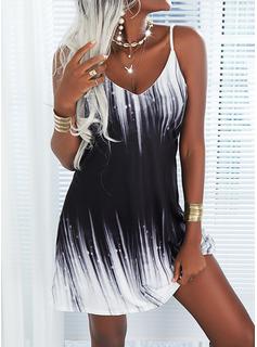 Impresión Degradada Vestidos sueltos Sin mangas Mini Casual Vacaciones Tipo Vestidos de moda