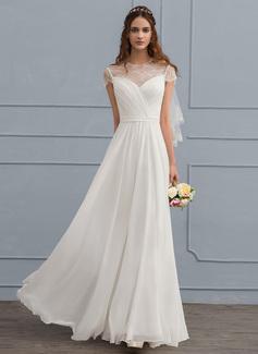 A-Line Illusion Floor-Length Chiffon Wedding Dress With Ruffle