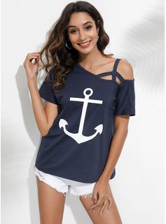 Print Korte ærmer Polyester One-Shoulder T-shirt Bluser