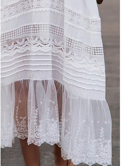Krajka Pevný Do tvaru A 3/4 rukávy Volný Rukáv Maxi Elegantní Skaterové Módní šaty