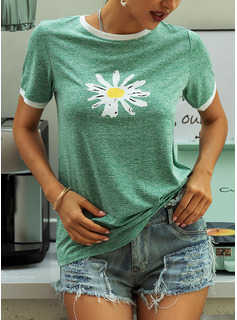Blommig Print Rund-ringning Korta ärmar Fritids t-shirt
