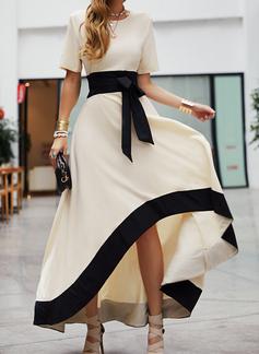 Blok Koloru Sukienka Trapezowa Krótkie rękawy Asymetryczny Impreza Elegancki Łyżwiaż Modne Suknie