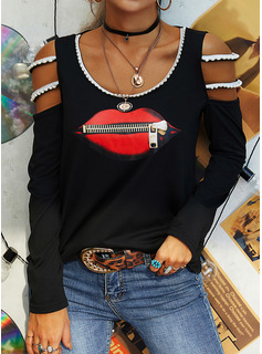 Beaded Print Cold Shoulder Long Sleeves Casual Blouses