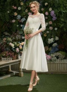 Illusion Tea-lång Bröllopsklänning med Spets