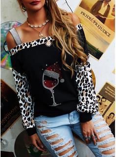 Leopard pailletter One-Shoulder Lange ærmer Casual Jul Skjorter