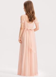 Corte A Decote V Longos Tecido de seda Vestido de daminha júnior com Pregueado Curvado