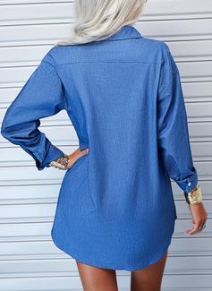 Couleur Unie Coupe droite Manches Longues Mini Treillis Décontractée Chemise Robes tendance
