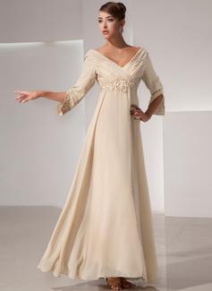 Empire V-neck Floor-Length Chiffon Mother of the Bride Dress With Ruffle Beading
