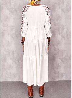 Impresión Vestidos sueltos Mangas 1/2 Midi Casual Vacaciones Túnica Vestidos de moda
