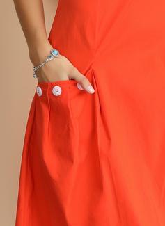 Bawełna Z Jednolity Kolano Długość Sukienka