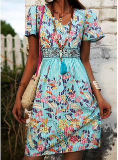 フローラル 印刷 シフトドレス 半袖 ミディ カジュアル ファッションドレス