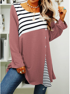 Striped Round Neck Long Sleeves Sweatshirt