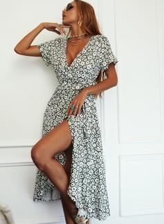 Blomster Print Kjole med A-linje Korte ærmer Midi Casual Elegant skater Wrap Mode kjoler