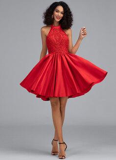 A-Line Halter Short/Mini Satin Homecoming Dress With Pockets