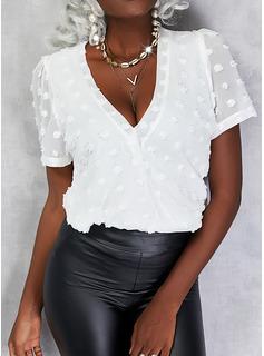 Einfarbig V-Ausschnitt Kurze Ärmel Elegant Blusen