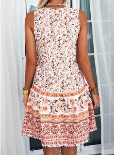 Floral Impresión Vestidos sueltos Sin mangas Mini Casual Vestidos de moda