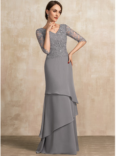 A-Line V-neck Floor-Length Chiffon Lace Mother of the Bride Dress With Cascading Ruffles