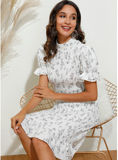 Knee Length High Neck Polyester Print Short Sleeves/Puff Sleeves Fashion Dresses