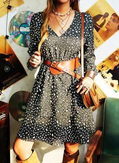 leopar Bir Çizgi Mâneci Lungi Mini gündelik Patenci Moda Elbiseler