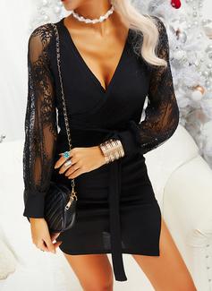 Dantel Solid Manşon Mâneci Lungi Midi Negre gündelik Moda Elbiseler