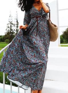 Print A-linjeklänning 3/4 ärmar Maxi Fritids skater Modeklänningar
