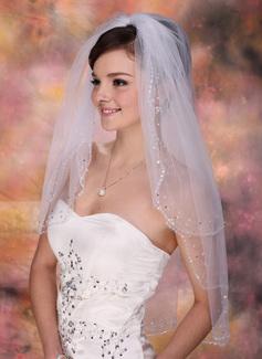 2 couches Voile de mariée longueur coude avec Bord perlé