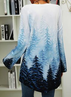 Print Skov Rund hals Lange ærmer Sweatshirts