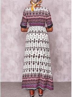 Print Kjole med A-linje Korte ærmer Maxi Boho Casual skater Mode kjoler