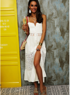 Lace Solid Backless A-line Sleeveless Midi Party Sexy Vacation Skater Type Dresses