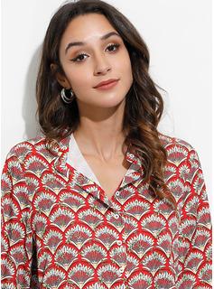 Print 1/2 Ærmer Polyester V-hals Shirt Skjorter Bluser