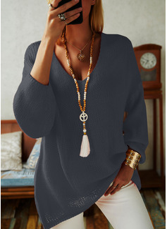 V-Ausschnitt Lässige Kleidung Einfarbig Pullover