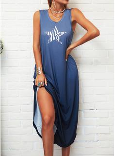 Estampado Vestidos soltos Sem mangas Maxi Casual Tanque Vestidos na Moda