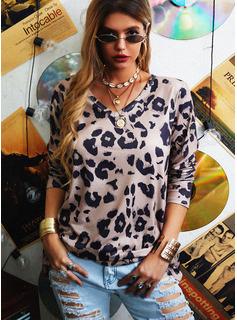 Leopard V-hals Lange ærmer Casual T-shirt