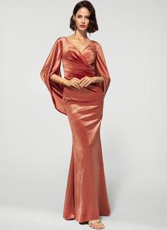 Sheath/Column V-neck Floor-Length Velvet Evening Dress