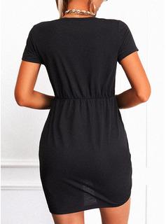 Beaded Heart Sheath Short Sleeves Mini Casual Dresses