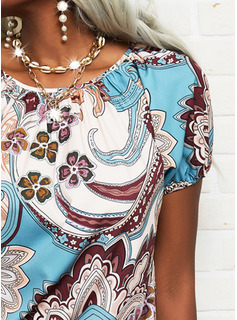 Floral Impresión Cuello Redondo Manga Corta Casual Blusas
