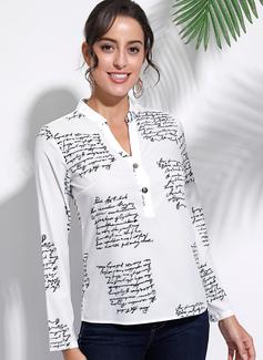 Wydrukować Długie rękawy Bawełna Mieszanki bawełniane Litera V Koszula Bluzki Bluzki