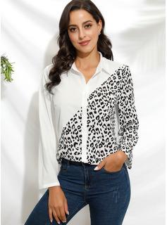 Leopard Lange Ärmel Polyester Revers Hemd Blusen Blusen